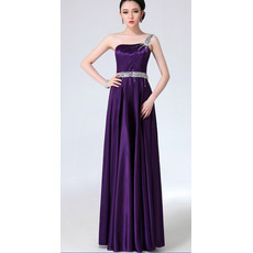 Sexy One Shoulder Satin Column Floor Length Evening/ Prom Dresses