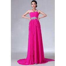 Custom One Shoulder Chiffon Column Long Evening/ Prom Dresses