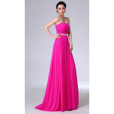 Sheath Chiffon Strapless Long Evening/ Prom Dresses for Spring