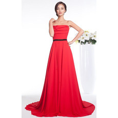 Affordable A-Line Strapless Chiffon Court Train Evening/ Prom Dresses
