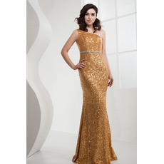 Custom Sequin One Shoulder Mermaid Floor Length Evening/ Prom Dresses