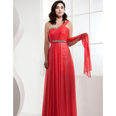 Discount One Shoulder Chiffon Long Sheath Evening/ Prom Dresses