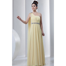 Custom One Shoulder Chiffon Floor Length Sheath Evening/ Prom Dresses