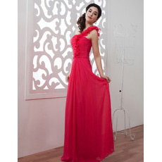 Discount One Shoulder Chiffon Floor Length Sheath Evening/ Prom Dresses