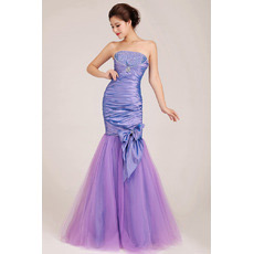 Affordable Mermaid Strapless Floor Length Satin Evening Dresses