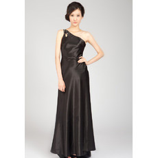 Inexpensive Sexy One Shoulder Satin Sweep Train Evening Dresses