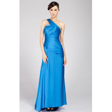 One Shoulder Chiffon Sweep Train Sheath Evening Dresses for Prom