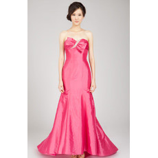 Custom Sexy Mermaid Sweetheart Sweep Train Taffeta Evening Dresses