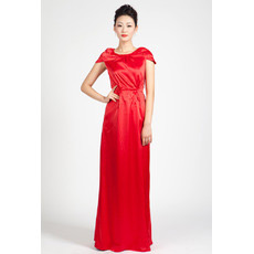 Custom Cap Sleeves Satin Column Floor Length Evening Dresses