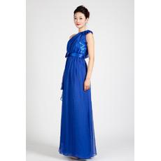 Discount One Shoulder Chiffon Column Floor Length Evening Dresses