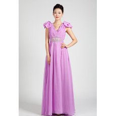 Cap Sleeves Chiffon Floor Length A-Line Evening Dresses for Prom
