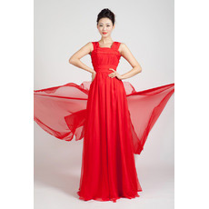Custom Formal Chiffon Floor Length Straps A-Line Evening Dresses