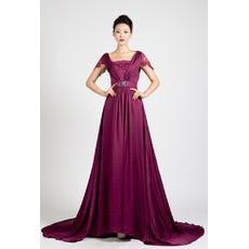 Inexpensive Cap Sleeves Chiffon Sweep Train A-Line Evening Dresses