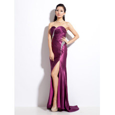 Sexy Satin Sheath Sweetheart Sweep Train Evening Dresses for Prom