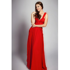 Sexy V-Neck Chiffon Floor Length A-Line Evening Dresses for Prom