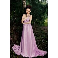 Sexy One Shoulder Chiffon Empire Floor Length Evening Dresses