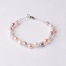 Inexpensive White/ Multicolor 6 - 7mm Freshwater Drop Pearl Bracelets