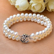 Elegant White 7 - 8mm Freshwater Off-Round Bridal Pearl Bracelets