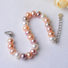 Discount Multicolor 7 - 8mm Freshwater Off-Round Bridal Pearl Bracelets