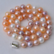 Stunning Multicolor 7.5 - 8.5mm Freshwater Off-Round Pearl Necklaces
