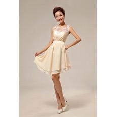 Affordable Elegant Asymmetric Chiffon A-Line Short Beach Wedding Dresses