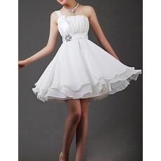 Custom One Shoulder Chiffon A-Line Short Reception Wedding Dresses