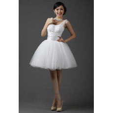Discount Straps Ball Gown Organza Short Reception Wedding Dresses