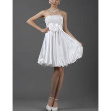 Satin A-Line Strapless Short Dresses for Summer Beach Wedding