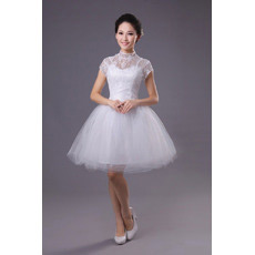 Custom Mandarin Collar Short Sleeves Short Reception Wedding Dresses