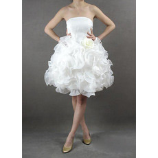 Romantic Stylish Bubble Skirt Strapless Short Garden Organza Wedding Dresses