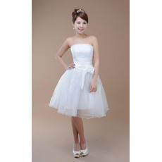 Simple A-Line Strapless Organza Knee Length Short Wedding Dresses with 3D Flower