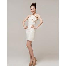 One Shoulder Column Satin Short Dresses for Summer Beach Wedding