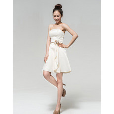 Discount Elegant A-Line Strapless Satin Short Beach Wedding Dresses