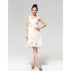 Casual Chiffon Empire Straps Short Dresses for Summer Beach Wedding