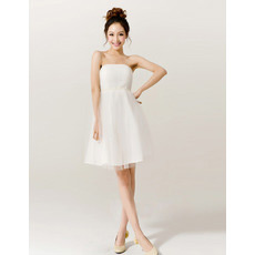 Inexpensive Empire Strapless Organza Short Beach Wedding Dresses