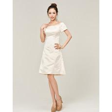 Informal Off-the-shoulder Short Sleeves Satin Short Beach Wedding Dresses