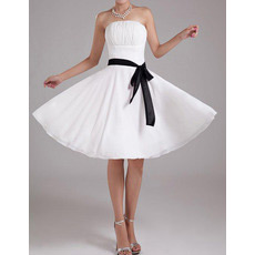 Chiffon A-Line Strapless Knee Length Dresses for Summer Beach Wedding