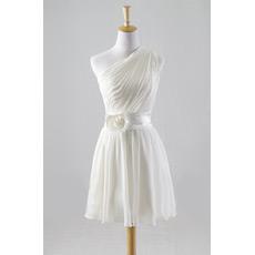 Custom One Shoulder Chiffon Pleated Short Beach Wedding Dresses