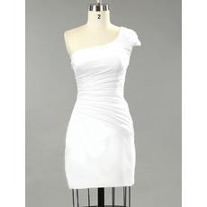 Sexy One Shoulder Sheath/ Column Satin Short Beach Wedding Dresses