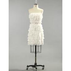 Tiered Chiffon Column Strapless Short Dresses for Summer Beach Wedding