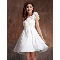 Inexpensive One Shoulder Chiffon Empire Short Beach Wedding Dresses