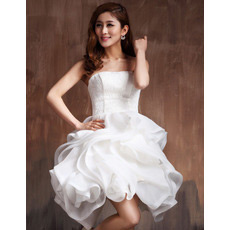 Chic Bubble Skirt Strapless Satin Short Beach Wedding Dresses