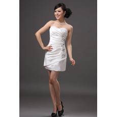 Custom Sheath/ Column Sweetheart Satin Short Beach Wedding Dresses
