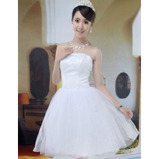A-Line Strapless Satin Organza Short Dresses for Summer Beach Wedding