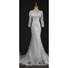Custom Elegant Long Sleeves Lace Mermaid Sweep Train Wedding Dresses