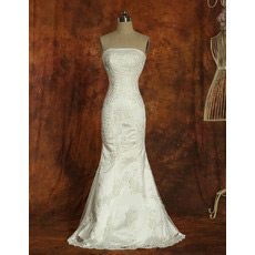 Affordable Mermaid Strapless Satin Sweep Train Wedding Dresses
