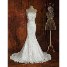 Custom Sexy Mermaid Court Train Strapless Satin Wedding Dresses