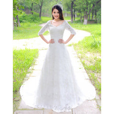 Custom Elegant Lace Sleeves Court Train A-Line V-Neck Wedding Dresses