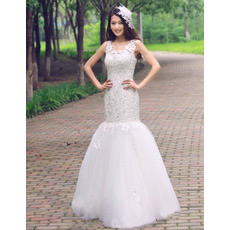 Inexpensive Mermaid/ Trumpet Lace Floor Length Wedding Dresses