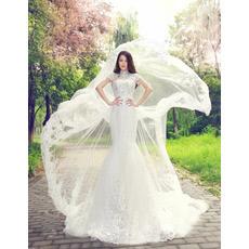 Elegant Mandarin Collar Chapel Train Organza A-Line Wedding Dresses